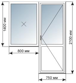 Купить металлопластиковая балконная дверь с окном. в кирове .